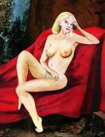 FINE ART FEMALE NUDE SEATED ON RED DRAPERY