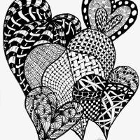 Interlocking Hearts in Black and White Art Prints & Posters by Nan Wright
