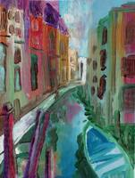 Narrow Canal Venice Oil Painting