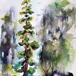 """Tall Trees Landscape Wildlife Nature Watercolor"" by GinetteCallaway"
