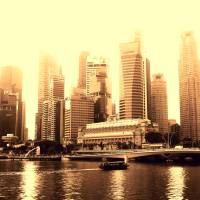 Urban Landscape Singapore, cross process Art Prints & Posters by Stamford Photography and Design