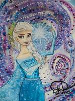 Queen Elsa watercolor painting - Disney's Frozen