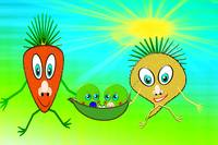 Mr Carrot, Mrs Sugarbeet and 2 Little Peas in a Po