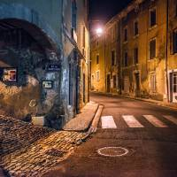 street scene at night, bonnieux Art Prints & Posters by Jody Miller