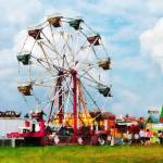 """Ferris Wheel Against Blue Sky"" by susansartgallery"