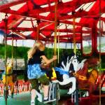"""Girl Getting on Merry-Go-Round"" by susansartgallery"