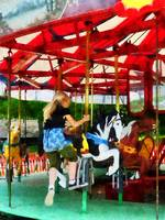 Girl Getting on Merry-Go-Round