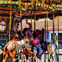 Merry Go Round With Elephants Art Prints & Posters by Susan Savad