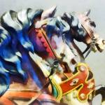 """Two Carousel Horses Closeup"" by susansartgallery"