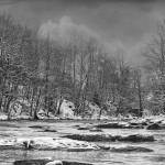 """Panther Creek in Snow#4-B&W"" by joegemignani"