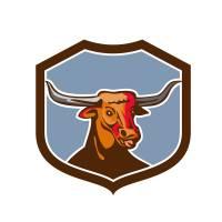 Texas Longhorn Red Bull Shield Retro Art Prints & Posters by aloysius patrimonio