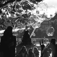 bubbles in the park Art Prints & Posters by David Genac