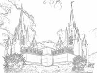 San Diego Temple (pen & ink)