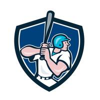 Baseball Player Batting Shield Cartoon