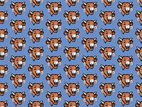The Laughing Cow Pop 2 - Brown on Blue Wallpaper