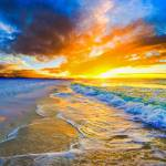 """golden ocean waves bright orange blue beach sunset"" by eszra"