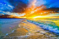 golden ocean waves bright orange blue beach sunset