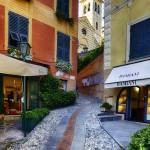"""Narrow Street Leading Up to a Church in Portofino"" by George_Oze"
