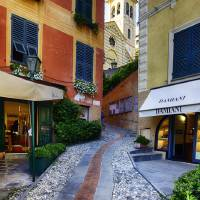 Narrow Street Leading Up to a Church in Portofino Art Prints & Posters by George Oze