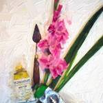 """Still Life Gladiolus Paint Tubes Palette Knife"" by GinetteCallaway"