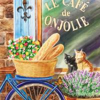 Bicycle Basket Window With Shutters And Cats Art Prints & Posters by Irina Sztukowski