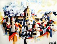 City panorama, landscape painting