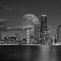 Chicago_Skyline_Moon_Clouds_BW_2 Art Prints & Posters by Morgan Howarth