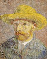 Self Portrait with Straw Hat by Vincent Van Gogh (