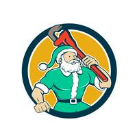 Santa Claus Plumber Monkey Wrench Circle Cartoon