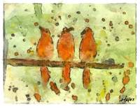 Three Orange Birds