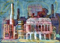 Textile Mill Watercolour Painting Original