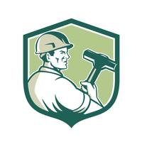 Demolition Worker Sledgehammer Shield Retro