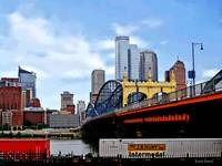 Pittsburgh PA - Train By Smithfield St Bridge
