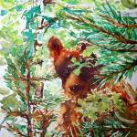 Wild Peek-a-Boo Bear watercolor by CheyAnne Sexton
