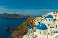 Blue churches Santorini