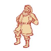 Santa Claus Father Christmas Thumbs Up Etching