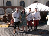 Isabela with Medieval men Sibiu SEP2014