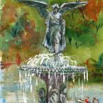 """Central Park Fountain, New York watercolor landsca"" by schulmanart"