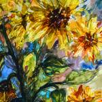 """Abstract Sunflower Watercolor by Ginette"" by GinetteCallaway"