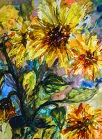 Abstract Sunflower Watercolor by Ginette
