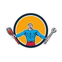 Superhero Handyman Spanner Wrench Circle Cartoon