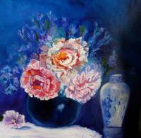 Peonies and Asian Vase