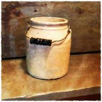 White Crock with Handle