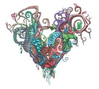 Two Nature Fused Hearts