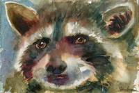 animal art | watercolor | Raccoon painting