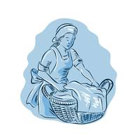 Laundry Maid Basket Vintage Etching