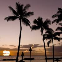 Signed-Hawaiian-Beach-Tiki-Sunset Art Prints & Posters by john lund
