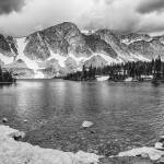 """Medicine Bow Lake View in Black and White"" by lightningman"
