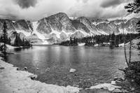 Medicine Bow Lake View in Black and White