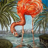 Flamingo Beach Art Prints & Posters by Alma Lee